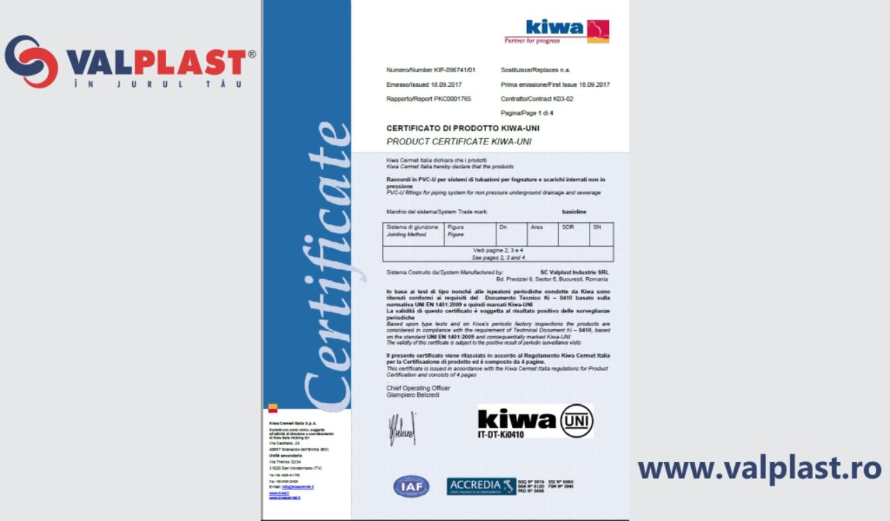 valplast industrie a primit cerficarea kiwa quality
