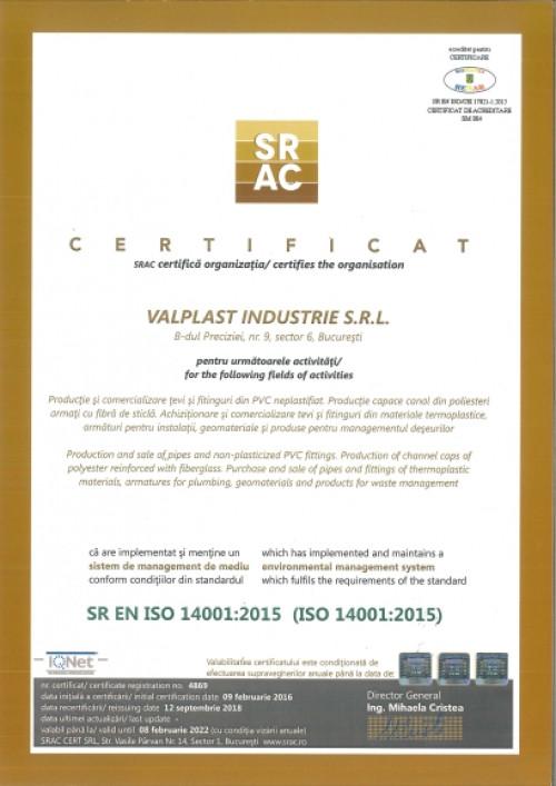 certificat valplast-iso14001